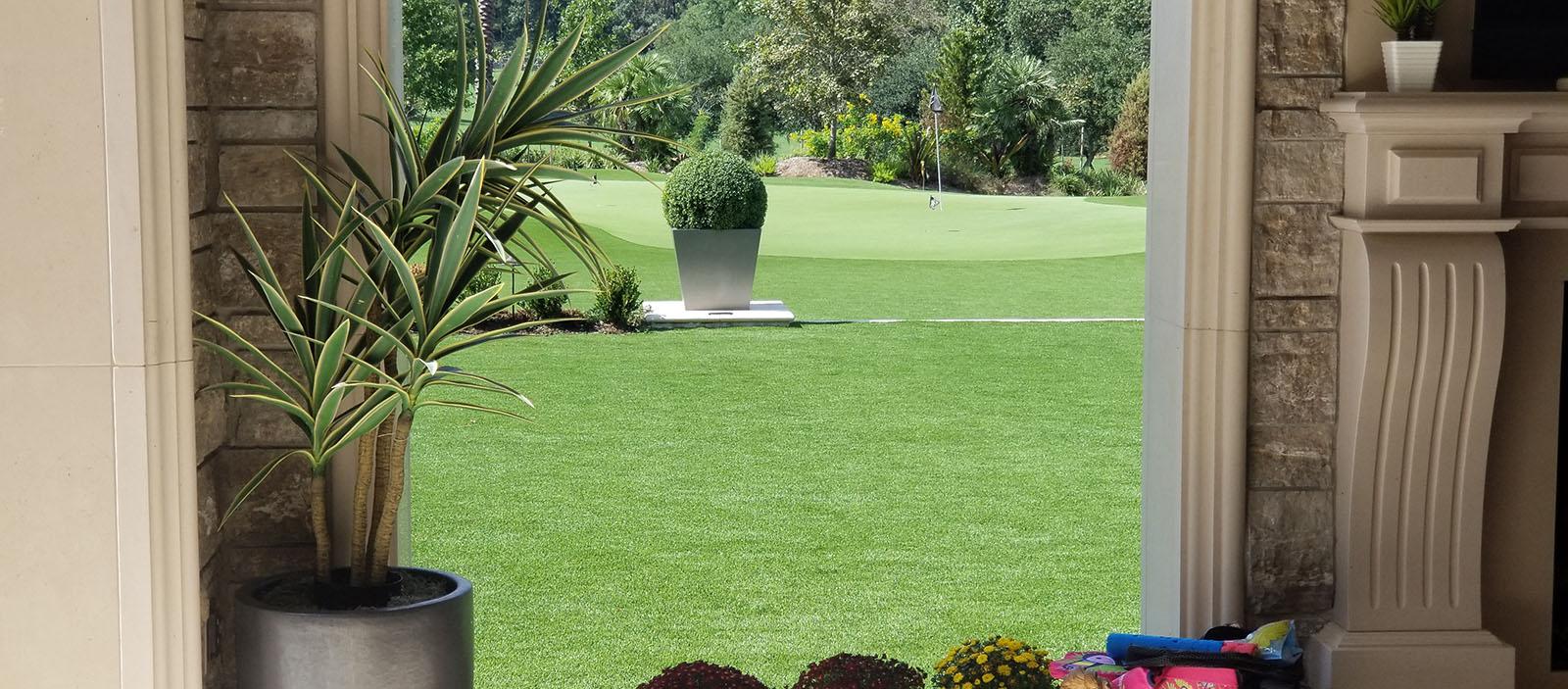 expansive artificial grass landscaping